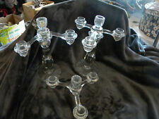 Vintage Set of 2 Crystal 4 Arm Candle Holders w/3 removable arm and 1 in center