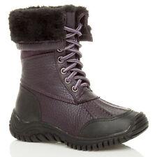 Kids Boys Girls Wellies Fur Wellington BOOTS Rainy Snow Boot Fleece Size 10-2 UK Purple UK 1 / EU 31