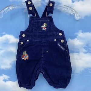 Disney MICKEY MOUSE Corduroy Bib Overalls Baby 3/6 Month Blue Embroidered