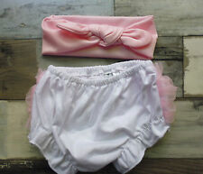 Baby White Bloomer Nappy Cover and Pink Knot Headband ....cake smash..photoprop