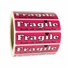 """Pink """"Fragile Handle with Tender Loving Care"""" Stickers 1"""" by 4"""" - 1,000 ct"""