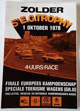 Aufkleber 5. EG TROPHY ZOLDER 1978 4h Race Tourenwagen EM Sticker Autocollant