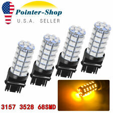 4x Amber /Yellow 3157 3156 68-SMD 3528 LED Light bulbs Turn Signal Brake Light