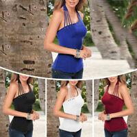 Women Sexy Off Shoulder Halter Neck Slim Vest Tank Top Sleeveless Casual T-Shirt