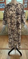 NWT LuLaRoe Shirley Kimono Size Large Black & Gray Flowers w/Petals On White!