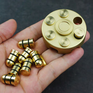 Brass Revolver Bullets Finger Spinner Top Hand Fidget Pocket EDC Desk Toy Gift