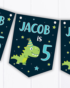 Personalised Dinosaur Happy Birthday Bunting, Children's Party Banner - Any Age