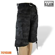 PRO CLUB CARGO SHORTS PROCLUB MEN'S LONG LENGTH BDU SHORT PANTS BLACK CAMO 30-64