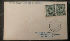 1921 Asyut Egypt Early First Flight Cover FFC to Tynygongl Anglesey Via London