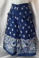 BOHO BLUE BATIK 1970s Vintage WIDE LEG Cotton CULOTTES PANTS - 24.5 inch waist