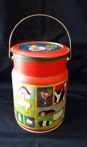 Vintage Farmhouse Red Rooster Round Tin Jar Storage Biscuit Cookies Halloween