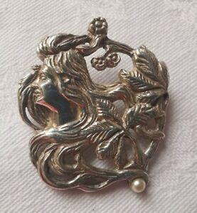Sterling Silver Art Nouveau Style Lady Brooch