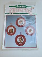NEW Bucilla Christmas Teddies Counted Cross Stitch Ornaments Kit #82745