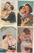 Lot 4 cartes postales ancien FANTAISIES AMOUREUX LOVER AMANTES LOVERS ЛЮБИТЕЛ 3