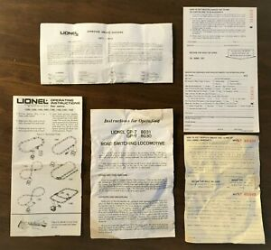 Lionel #8030 #8031 Instruction Sheet & Early MPC Misc Paperwork