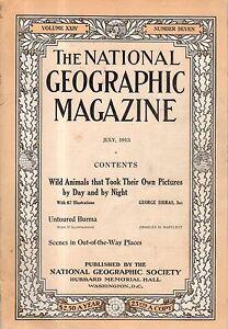 1913 National Geographic July-Untoured Burma; Animals that took their own photos