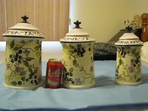 SET 3 Tracy Porter Zrike Lidded Hand Painted Canisters Blueberries