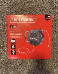 "Craftsman Mini Retractable Hose Reel With PVC Air Hose 1/4"" 26' ft 220 PSI"
