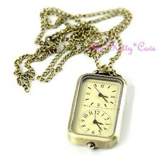 Dual / Twin Time Two Dial Multi Zone Vintage Brass Effect Necklace Pendant Watch