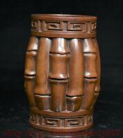 """4 """"Buis Chinois Bois Sculpté Dynastie Palais Bambou Brosse Pot Pot Crayon Vase"""