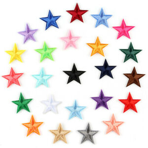 Lot of 20 Fabric Stars Patches Embellishments Art Decors For Jeans Sewing Crafts