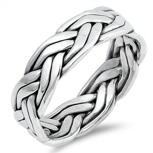 Infinity Celtic Layer Twist Genuine Sterling Silver Band Ring