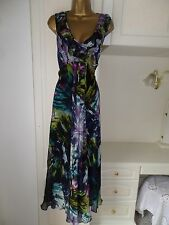 GORGEOUS LINED CHIFFON MAXI DRESS BY WALLIS IN VG CON SIZE UK 16 BUST 42""
