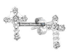 diamond cross stud earrings .06-carat Christian 10K white gold men ladies