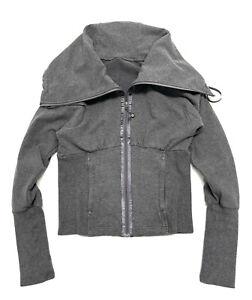 LULULEMON Course Ette Jacket Womens Size 8 Gray Cowl Neck Full Zip