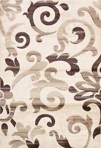 IVORY Modern Nature Print Turkish Oriental Area Rug Home Decor 5x7 Carpet