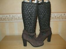 Ladies Clarks Brown Nubuck Suede And Quilted Knee Length Boots Size UK 5