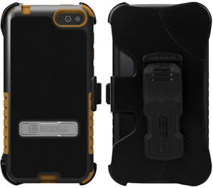 BROWN TRI-SHIELD KOMBO CASE COVER BELT CLIP HOLSTER STAND FOR AMAZON FIRE PHONE