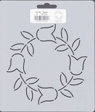 Quilting Stencil Template - Round Tulip and Leaf Design - Made in the US