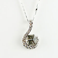 14k white Gold GF hook crystals solid pendant necklace with Swarovski elements