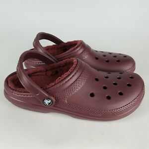 Crocs Burgundy Fleece Lined Clogs Shoes Size: Men 9 / Woman 11