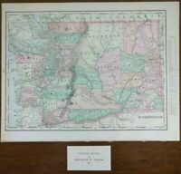 "Vintage 1903 WASHINGTON Map 14""x11"" ~ Old Antique Original OLYMPIA WALLA WALLA"
