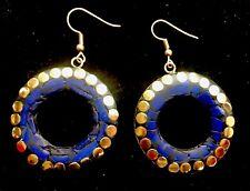 Bohocoho ECCENTRICO Boho Gypsy 70 S stile Deep Blue Mosaico Cerchio Dangle Earrings