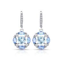 Tanzanite, Blue & White Topaz Circle Dangle Leverback Earrings in 925 Silver