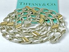 "Tiffany & Co 18k Y Gold Sterling Silver Curb Link Chain Necklace 15 3/4"" 20.5 gr"