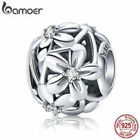 Bamoer European S925 Sterling Silver Hollow charm cz Flowers For Women Bracelet