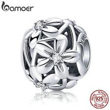 Bamoer European S925 Sterling Silver Hollow charm cz Flowers For Women Bracelet
