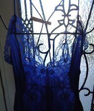 "Vtg 70s Royal Blue Silky Nylon Peekaboo Lace Nightgown Val Mode S 88"" Full Asis"