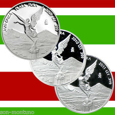 3 LIBERTAD SILVER PROOF COINS 1/20 Troy Oz Each - SET OF 2009 2010 2011 - MEXICO