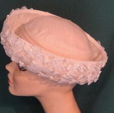 Vintage White Cellofane Upturned Brim Hat