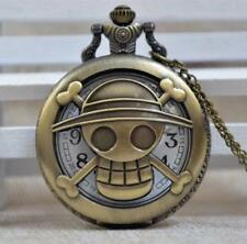 One Piece Luffy Pocket Watch Straw hat Pirate Clock Anime Gift Show necklace