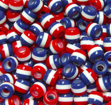 JOLLY STORE Crafts Patriotic Red White Blue Stripes 11x10mm Pony Hair Fun Beads