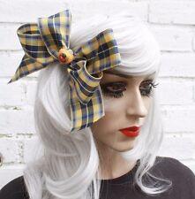 1950s Vtg Style Yellow Gobbolino Tartan Ribbon Hair Clip Bow Fashion Accessory