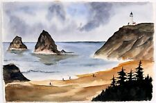 East Coast Ocean Lighthouse Watercolor Fred Lewis Listed Indiana Artist Painter