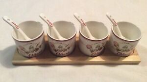 4 x Olive Dishes Easy Life Design Dora Papis With Spoons And Tray #R