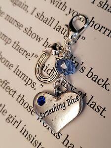 Something Blue Bride / Bridal Wedding Charm - Good Luck Gift - Heart & Horseshoe